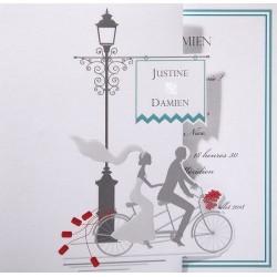 Faire-part mariage vintage mariés vélo gris vert Faire Part Select Duo 49517