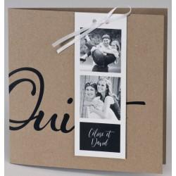 Faire-part mariage tendance kraft Oui noir photo BUROMAC Papillons 2018 108.907