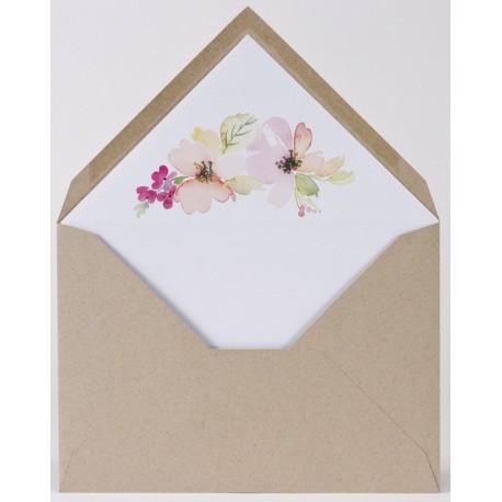 Enveloppe kraft doublée motif floral aquarelle Buromac Papillons 2018 90.902-p