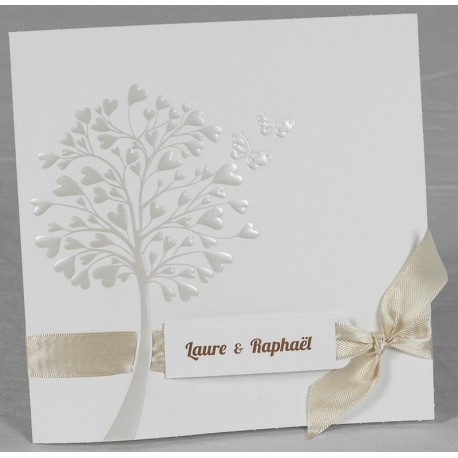 Faire part mariage chic arbre ruban beige faire part select Romance 49602