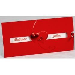 Faire part mariage chic rouge coeur faire part select Romance 49606