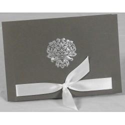 Faire part mariage élégant taupe ruban blanc faire part select Romance 49615