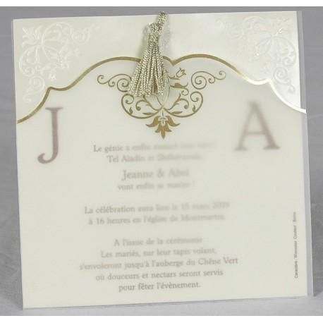 Faire part mariage oriental chic dorure pompon faire part select Romance 49618