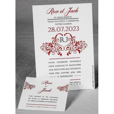 Faire part mariage élégant coeur rouge faire part select Romance 49624