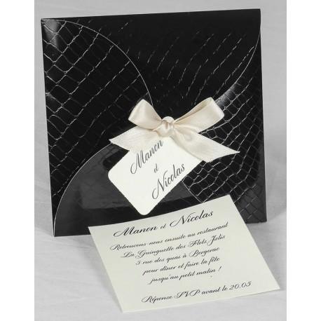 Faire part mariage chic noir ruban champagne faire part select Romance 49625