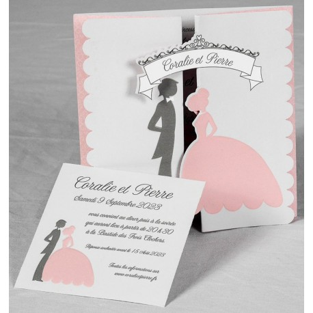 Faire- part mariage vintage couple gris rose Faire Part Select Romance 49627