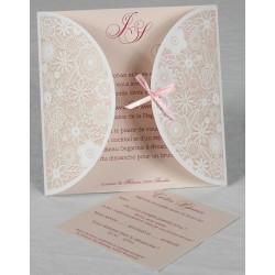 Faire-part mariage vintage fleur rose Faire Part Select Romance 49638