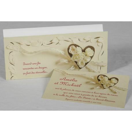 Faire-part mariage romantique coeur dorure Faire Part Select Romance 49658