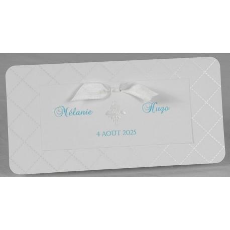 Faire-part mariage élégant matelassé ruban blanc Faire Part Select Romance 49661