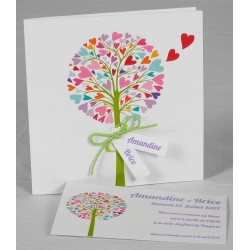 Faire-part mariage fantaisie arbre multicolore Faire Part Select Romance 49667