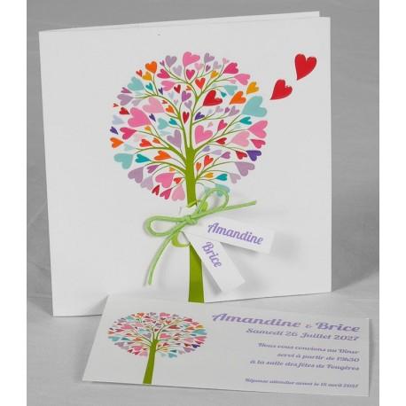 Faire-part mariage fantaisie arbre multicolore Faire Part Select Romance 49667
