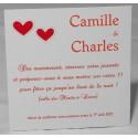 Carte lunch ou remerciements crème coeurs rouges FAIRE-PART SELECT Romance 59640