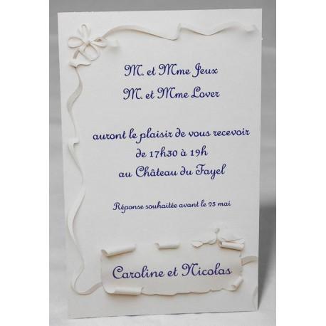 Carte lunch ou remerciements ruban parchemin FAIRE-PART SELECT Romance 59641