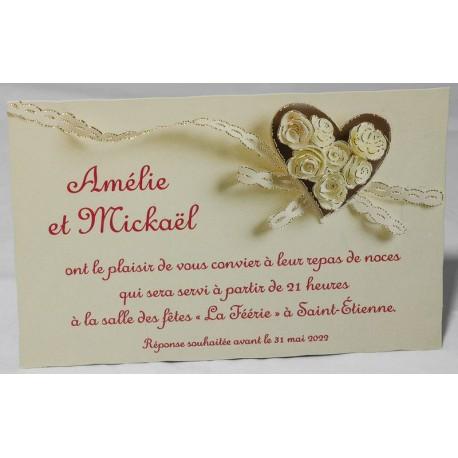 Carte lunch ou remerciements coeurs ruban crème Faire Part Select Romance 59658