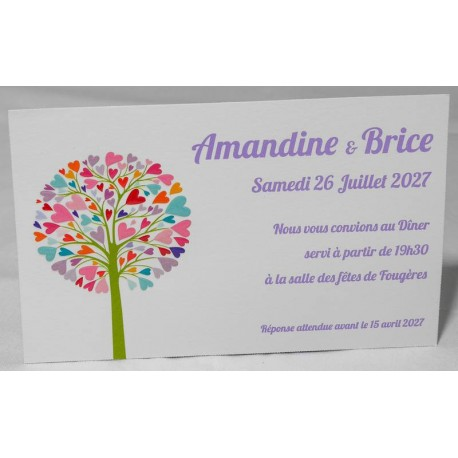 Carte lunch ou remerciements nature arbre coloré Faire Part Select Romance 59667