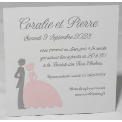 Carte lunch ou remerciements romantique couple gris rose Faire Part Select Romance 59627