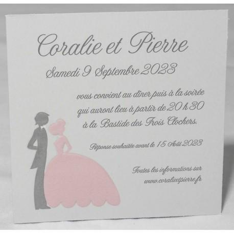 Carte lunch ou remerciements romantique couple gris rose Faire Part Select Romance 59627