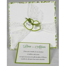 Faire part mariage nature chic dentelle blanche ruban vert Faire Part Select Romance 49603