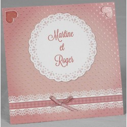 Faire part mariage orginal rose gaufrage neoud Faire Part Select Romance 49604