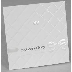 Faire part mariage poétique blanc coeurs nacre Faire Part Select Romance 49607
