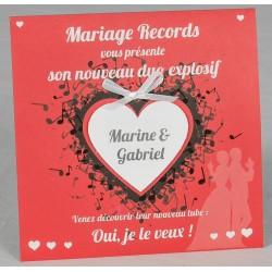 Faire part mariage original pochette disque graphique Faire Part Select Romance 49619