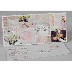 Faire part mariage classique rose fleurs carte postale Faire Part Select Romance 49630