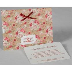 Faire part mariage vintage pochette fleurs noeud bordeaux Faire Part Select Romance 49635