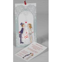 Faire part mariage humoristique couple baiser coeur Faire Part Select Romance 49639