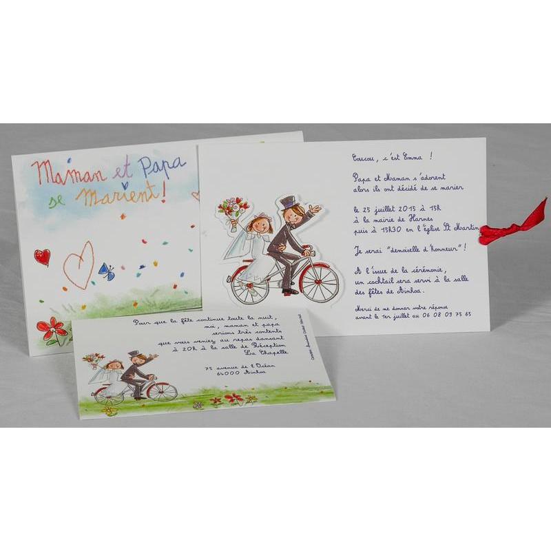 Faire Part Mariage Humoristique Mariés Vélo Dessin Enfantin Fps 49642