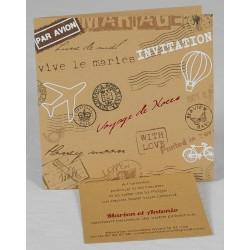 Faire part mariage origial papier recyclé voyage tampon Faire Part Select Romance 49643