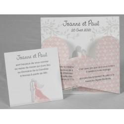 Faire part mariage original romantique rose blanc couple Faire Part Select Romance 49644