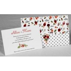 Faire part mariage vintage champêtre fleurs pochette Faire Part Select Romance 49653