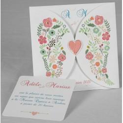 Faire part mariage original champêtre fleurs coeur Faire Part Select Romance 49654