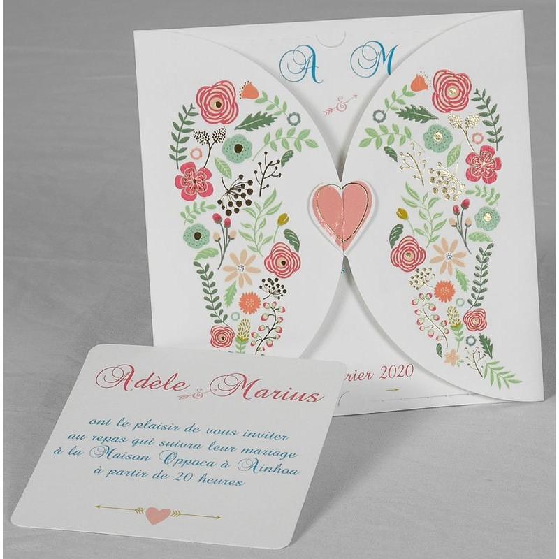 Faire Part Mariage Original Champetre Fleurs Coeur Vernis Romance 49654