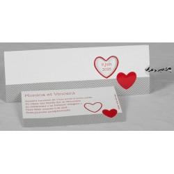 Faire part mariage original graphique blanc chevrons noirs coeur bordeaux Faire Part Select Romance 49655