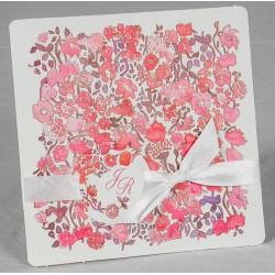 Faire part mariage fleurs rouges roses aquarelle Faire Part Select Romance 49660