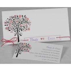 Faire part mariage nature chic arbre coeurs roses Faire Part Select Romance 49662