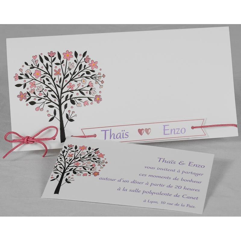 faire part mariage moderne nature chic arbre coeurs roses romance 49662. Black Bedroom Furniture Sets. Home Design Ideas