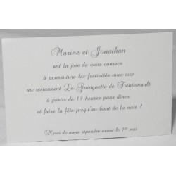 Carte lunch ou remerciements classique crème papier martelé FAIRE-PART SELECT Romance 59634
