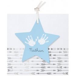 Faire-part naissance classique mixte blanc étoile flèches argentées Belarto Hello World 2018 718014
