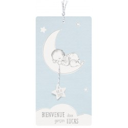 Faire-part naissance classique bleu pâle bébé endormi lune Belarto Hello World 2018 718016