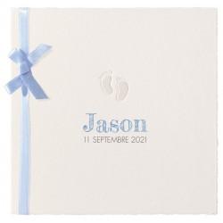 Faire-part naissance classique papier prestige pieds ruban bleu Belarto Hello World 2018 718051