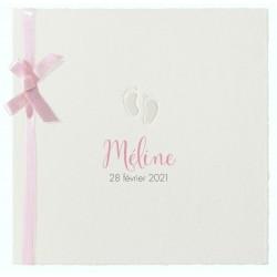 Faire-part naissance classique papier prestige pieds ruban rose Belarto Hello World 2018 718050