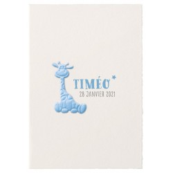 Faire-part naissance classique chic papier prestige girafe bleue Belarto Hello World 2018 718053