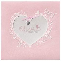Faire-part naissance chic pochette rose coeur suédine Belarto Hello World 2018 718021