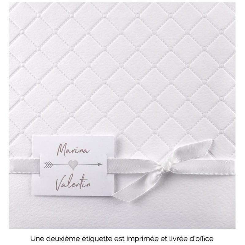 Faire Part Mariage Classique Croisillons Ruban Blanc Satiné Jl3512