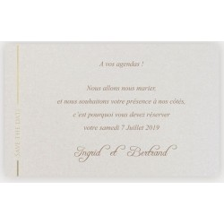 Carte Save the Date crème irisé or nacré REGALB KD7471