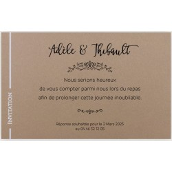 Carte d'invitation marron liseré blanc REGALB KC4404