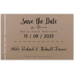 Carte Save the Date marron liseré blanc REGALB KC7404