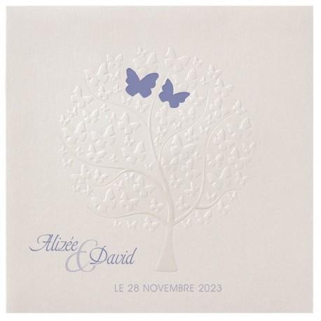 Faire part de mariage élégant arbre papillons gaufrage BELARTO Celebrate Love 723087-W